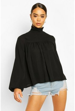 Black High Neck Ruffle Detail Smock Top