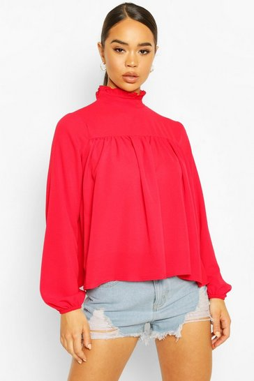 Red High Neck Ruffle Detail Smock Top