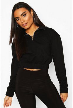 Black Half Zip Panelled Crop Sweat