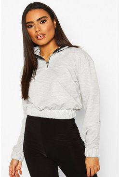 Grey marl Half Zip Panelled Crop Sweat