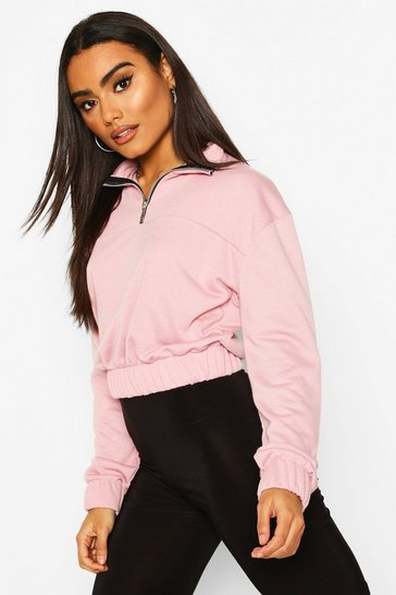 Pink Half Zip Panelled Crop Sweat