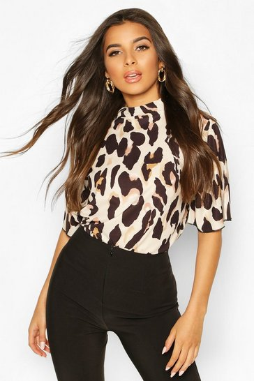 Brown Woven Leopard Angel Sleeved Top