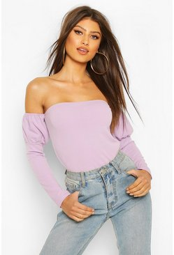 Lilac Crepe Off The Shoulder Top