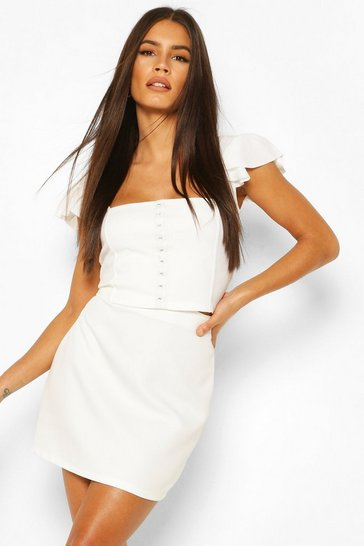 Ivory Hook And Eye Square Neck Ruffle Crop Top