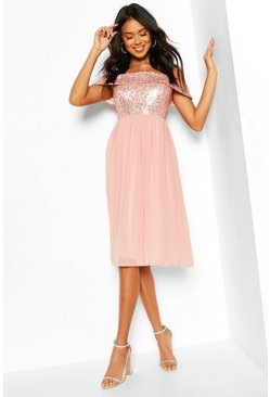 Blush Bridesmaid Occasion Sequin Bardot Midi Dress