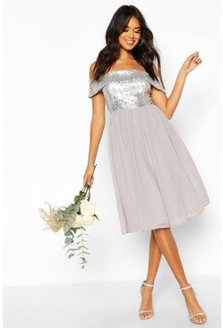 Silver Bridesmaid Occasion Sequin Bardot Midi Dress