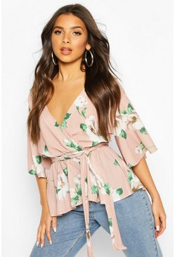 Blush Frill Structured Sleeve Floral Blouse