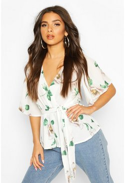 Ivory Frill Structured Sleeve Floral Blouse