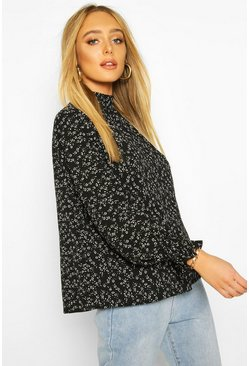 Black Ditsy Print High Neck Blouse