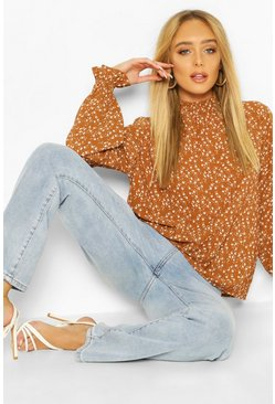 Rust Ditsy Print High Neck Blouse