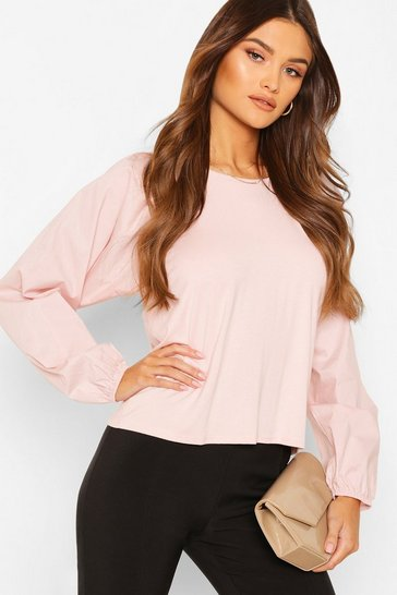 Nude Big Sleeve Cotton Mix and Jersey Contrast Blouse
