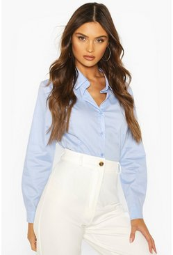 Blue Cotton Mix Shirt