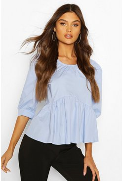 Blue Puff Sleeve Cotton Mix Blouse