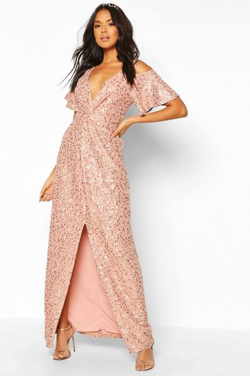 Blush Bridesmaid Occasion Sequin Knot Front Maxi Dress