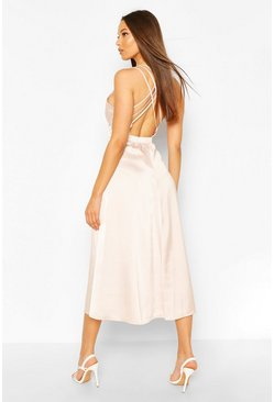 Soft pink Occasion Satin Cross Back Midi Skater Dress