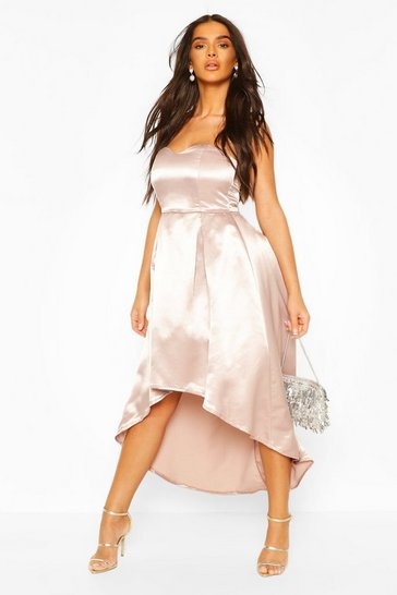 Dusky pink Occasion Bandeau Satin Midi Skater Dress