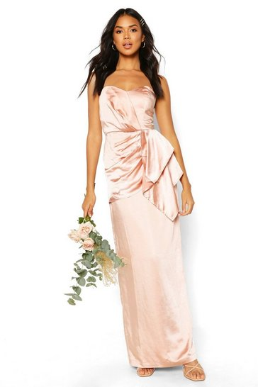 Blush Bridesmaid Occasion Satin Pleated Maxi Dress