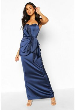 Navy Bridesmaid Occasion Satin Pleated Maxi Dress