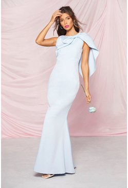 Pastel blue Occasion Bow Cape Detail Maxi Dress