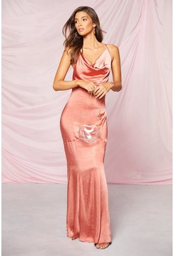 Apricot Occasion Satin Cowl Rouche Back Maxi Dress