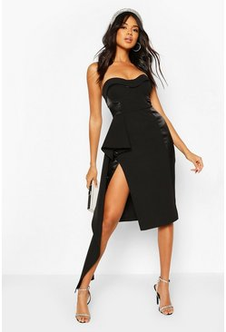 Black Occasion Satin Panel Cupped Waterfall Midi