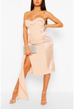 Pink Occasion Satin Panel Cupped Waterfall Midi
