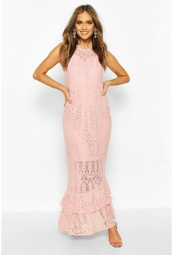 Blush Boohoo Occasion Lace High Neck Maxi Dress