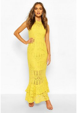Mustard Boohoo Occasion Lace High Neck Maxi Dress