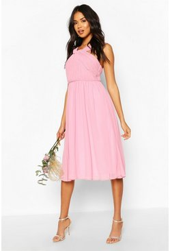 Dusky pink Bridesmaid Occasion Pleated Detail Midi Dress