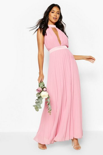 Dusky pink Bridesmaid Occasion Cross Back Midi Dress