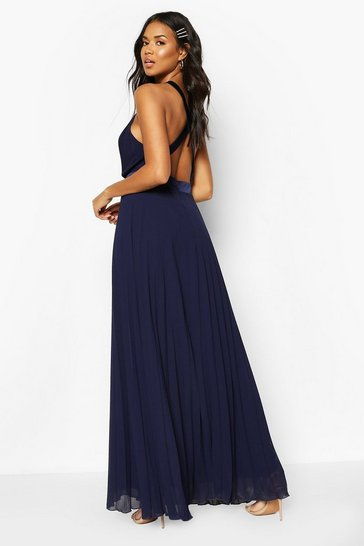 Navy Bridesmaid Occasion Cross Back Midi Dress