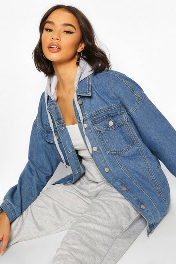 Mid blue Jersey Hood Longline Denim Jacket