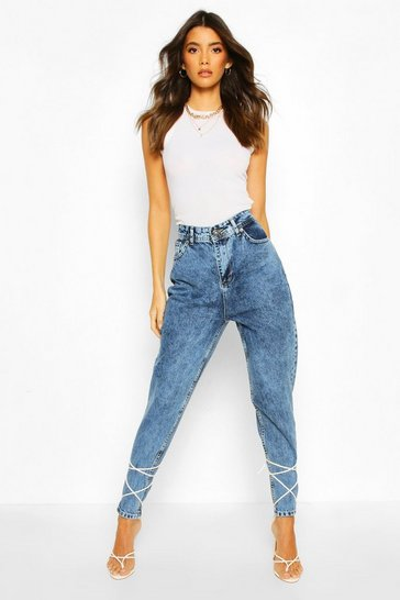 Light blue High Rise Acid Wash Mom Jean