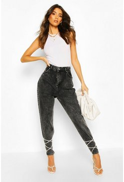 Washed black High Rise Acid Wash Mom Jean