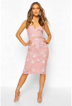 Blush Boohoo Occasion Sequin Floral Midi Dress
