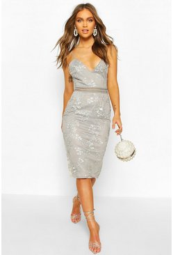Grey Boohoo Occasion Sequin Floral Midi Dress