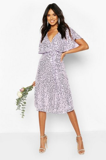 Lilac Bridesmaid Sequin Cape Detail Midi Dress