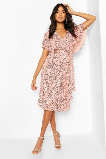 Soft pink Bridesmaid Sequin Cape Detail Midi Dress