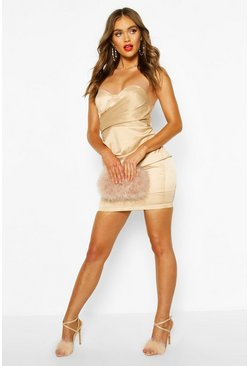 Champagne Boohoo Occasion Satin Cupped Mini Dress