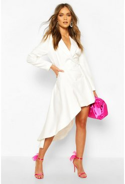 Ivory Boohoo Occasion Double Breasted Blazer Dress