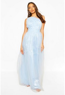 Blue Boohoo Occasion Mesh One Shoulder Extreme Maxi