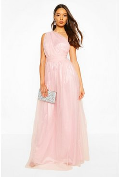 Pink Boohoo Occasion Mesh One Shoulder Extreme Maxi