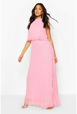 Blush Bridesmaid Occasion Pleated Double Layer Maxi Dress