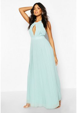 Sage Bridesmaid Occasion Pleated Panel Detail Maxi Dress