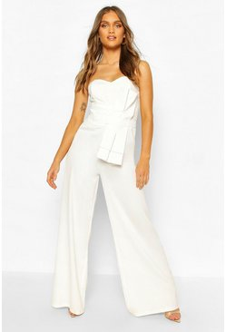 Ivory Boohoo Occasion Bandeau Bow Culotte Jumpsuit