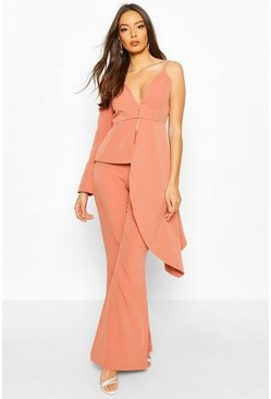 Apricot Blazer i one shoulder-modell med waterfalldrapering