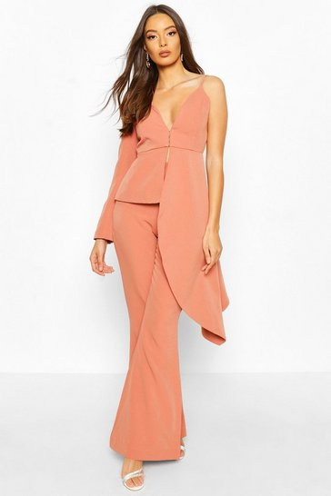 Apricot Boohoo Occasion Waterfall One Shoulder Blazer