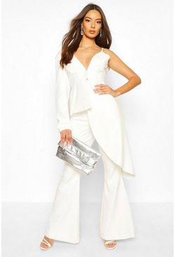 White Boohoo Occasion Waterfall One Shoulder Blazer