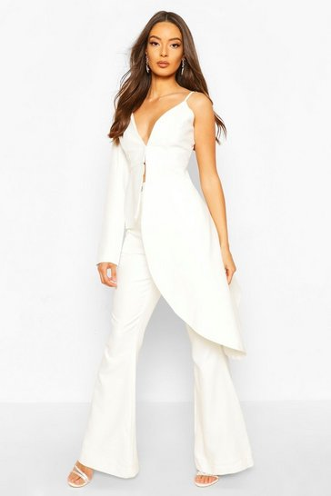 White Boohoo Occasion Tailored Flare Trouser