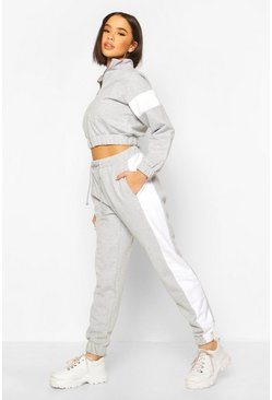 Grey marl Zip Through Cropped Colour Block Tracksuit